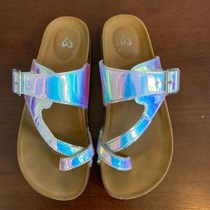 Girls Size 4 Justice holo sandal